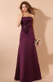 Satin Strapless Maxi Dress and Ruching and Flower