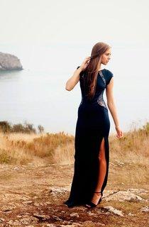 Modern Mermaid Front Split Lace Evening Dress 2016 Cap Sleeve