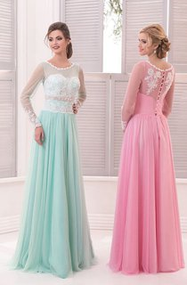 A-Line Floor-Length Sweep Jewel Long Sleeve Tulle Beading Beading Button Dress
