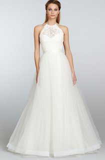 Noble Sleeveless Lace Bodice Tulle Dress With Ribbon