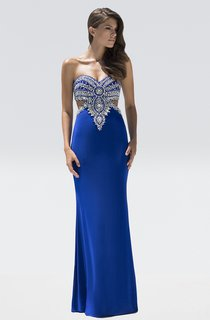 Sheath Floor-Length Sweetheart Sleeveless Jersey Beading Backless Dress