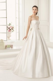 Sweetheart Satin Unique Ball Gown With Watteau Train