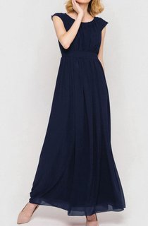 Scoop Neck Cap Sleeve Pleated A-line Chiffon Floor Length Dress With Bandage