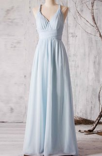 Spaghetti Straps Allover Pleated A-line Chiffon Long Dress Criss-cross Back