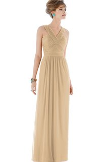 Long Criss Cross V-Neck Chiffon Gown with V-back and Ruching
