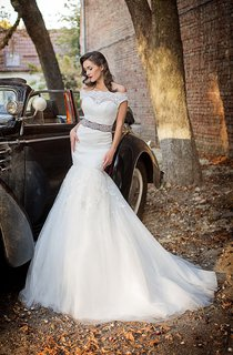 Mermaid Long Off-The-Shoulder Lace-Up Tulle Dress With Lace And Beading