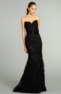 Graceful Sweetheart Neckline Lace Gown With Floral Embellished Satin Ribbon