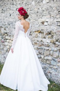 Long Sleeve A-Line Satin Dress With Lace Bodice and Low-V Back