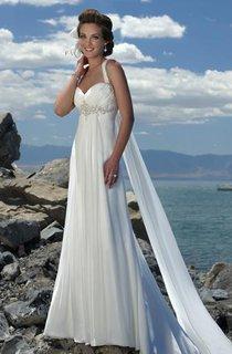 Empire Waist Spaghetti Straps Brush Train Chiffon Beach Wedding Dress