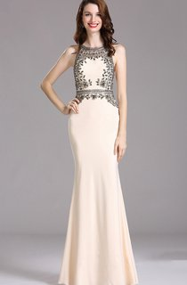 Sheath Bateau Sleeveless Jersey Beading Keyhole Dress