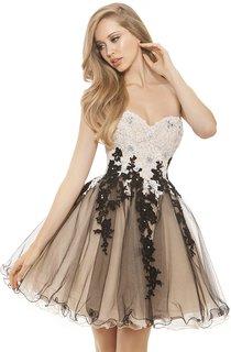 A-Line Short Sweetheart Sleeveless Tulle Appliques Ruffles Backless Dress