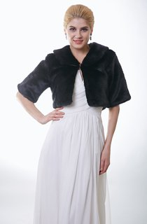 Bridal Faux Fur Jacket With Half Sleeves