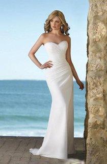 sheath Natural Strapless Sweetheart Chiffon Wedding Dress