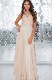 A-Line Floor-Length High-Neck Short Sleeve Chiffon Beading Appliques Lace-Up Dress