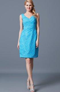 Demure Sleeveless V-neck Sheath Short Lace Dress