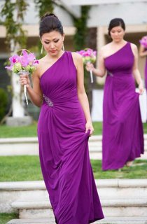 One-shoulder Floor-length Long Side Beaded Chiffon Dress