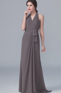 V-Neck Halter Graceful Asymmetric Dress With Bow