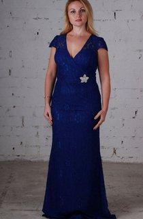 Sheath Sweep V-Neck Short Sleeve Lace Lace Dress