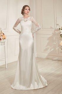Sheath Long Jewel-Neck Illusion-Sleeve Lace-Up Satin Dress With Keyhole