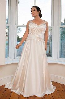 A-Line Floor-Length V-Neck Sleeveless Satin Court Train Illusion Ruching Dress