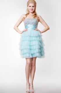 Sweetheart A-line Mini Dress with Cascading TieredSkirt