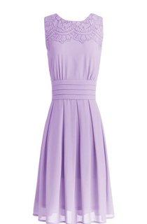 Sleeveless Short Ruffled and Embroidered Chiffon Dress