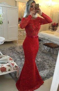 Mermaid Long Sleeves Scoop Lace Sash Sweep Train Dresses