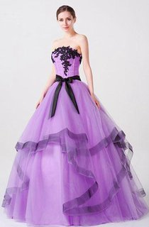 Ball Gown Long Straps Sleeveless Bell Appliques Ribbon Lace-Up Back Straps Tulle Lace Organza Dress