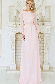 Sheath Floor-Length Jewel Long Sleeve Chiffon Crystal Detailing Pleats Low-V Back Dress
