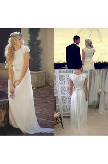 Bateau Neck Cap Sleeves Pleated A-line Chiffon Gown With Lace