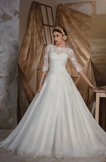 A-Line Floor-Length Bateau Half-Sleeve Low-V-Back Organza Dress With Lace