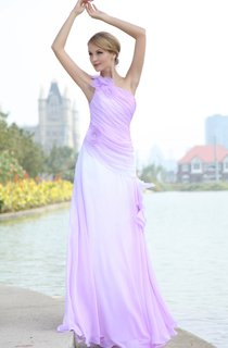 Blend Color Chiffon Floor-Length Dress With Pleating