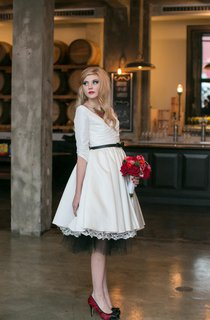 3-4 Sleeve A-Line V-Neck Tea Length Taffeta Dress With Lace Hemline