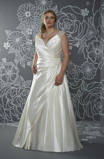 A-Line Floor-Length V-Neck Sleeveless Satin Sweep Train Illusion Side Draping Dress