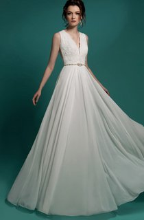 A-Line Floor-Length V-Neck Sleeveless Illusion Chiffon Dress With Beading And Lace Appliques