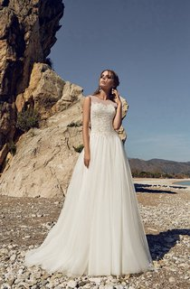 Bateau Lace Appliques Empire Tulle Floor-length Keyhole Back Dress