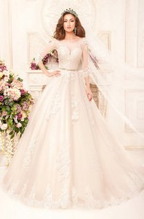 Ball Gown Long Scoop 3-4-Sleeve Illusion Lace Dress With Appliques And Waist Jewellery