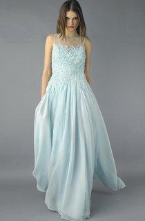 A-line Floor-length High Neck Sleeveless Chiffon Keyhole Dress