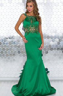 Mermaid Sweep Jewel Sleeveless Satin Appliques Beading Backless Dress