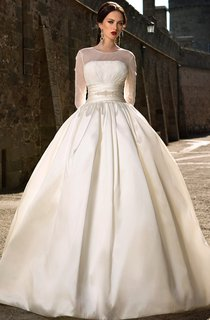 Ball Gown Long Jewel-Neck Illusion-Sleeve Illusion Satin Dress With Ruching And Beading