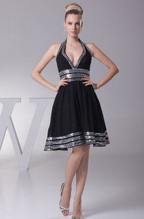 Deep-V-Neck Midi A-Line Sleeveless Pleats and Dress With Strapped
