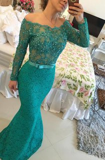 Modern Long Sleeve Lace Mermaid Prom Dress 2016 Pearls Off-the-shoulder