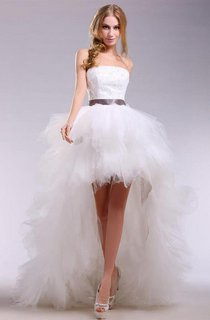 Strapless High-low Tulle Dress With Satin Sash