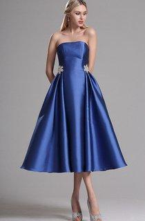 A-Line Tea-Length Strapless Sleeveless Satin Flower(S) Zipper Dress