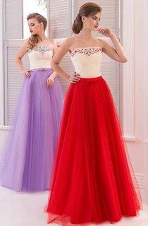 A-Line Floor-Length Sweetheart Sleeveless Tulle Drapping Pleats Zipper Dress