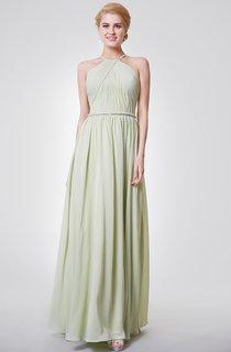 Wonderful A-line Pleated Chiffon Long Dress With Knot Belt