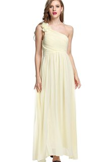 Empire Floral Single Strap Chiffon Long Dress Yellow