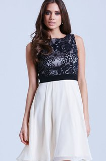 Brilliant Sleeveless Dress With Lace Bodice