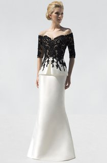 Mermaid Floor-Length Off-The-Shoulder Half Sleeve Satin Appliques Beading Dress