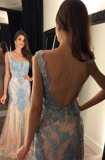 Glamorous Beadings Mermaid 2016 Prom Dress Open Back Sweep Train